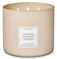 Bath Body Works TOASTED COCONUT S#x27;MORES 3 Wick 14.5 oz Candle White Barn Bakery $20.00