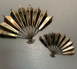 Vintage Home Interior Homco Metal Fan Wall Accents Plaques Set of 2 $9.99
