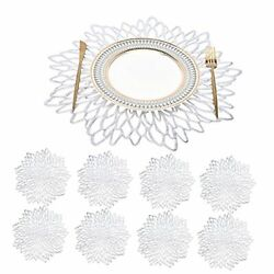 Vinyl Placemats Set ofRound Floral Leaf Dining Modern Table Place 8 Silver $21.25