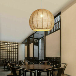 Nordic Rattan Round Pendant Hanging Lamp Dining Room Ceiling Light Living Room $55.00