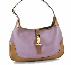 Authentic GUCCI Jackie Shoulder Bag Suede Leather 0013306 Pink Brown E0848 $241.80