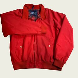 L. L. Bean Men#x27;s Size Medium Red Flannel Lined Bomber Jacket 38 40 $19.99