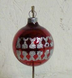 VINTAGE Glass quot;ROUNDquot; Ornament Red with Silver Shiny Glitter $3.89