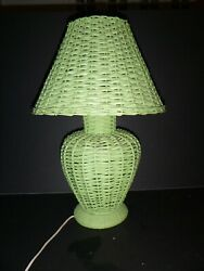 Vintage Pair of Preppy Palm Beach Chic Green Wicker Lamps and Shades 20quot; Tall $199.95