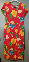 First Focus Bright Multicolor Floral Maxi Dress Size 9 10 FS3 $29.99