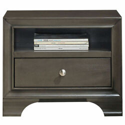 Vintage Nightstand Sofa Side End Table Solid Wood w USB Port amp; 1 Drawer Grey $105.00