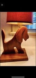 vintage handmade wooden dog lamp with vintage shade $37.00