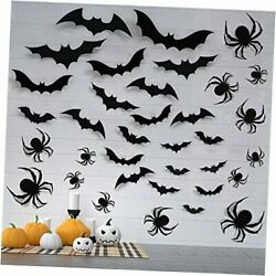 Halloween Wall Decorations DIY Halloween Party Supplies 3D 3D Spiders and Bats $15.36