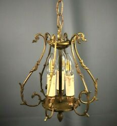 French Antique Gilt Bronze Louis XV Rococo Chandelier 3 Light Hanging Lamp $280.00