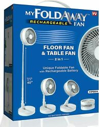 NEW My FoldAway 2 in 1 Floor and Table Fan with Rechargeable Battery FREE Ship $35.99
