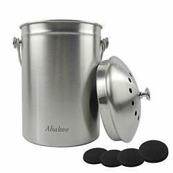Compost Bin Countertop Composter Bucket with Lid Abakoo 1.6 Gallon Stainless ... $43.46