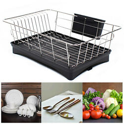 Kitchen Steel Over Sink Dish Drying Rack with Cutlery Holder Drainer Organizer $23.03