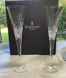 2 Waterford Crystal Happy Celebrations Toasting Flutes Champagne Glasses $80.00