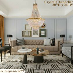 French Empire Style Pendant Lamp Crystal Chandelier Gold Ceiling Light 30quot;Hx24quot;W $195.00