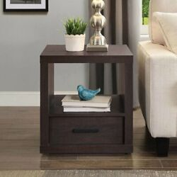 Espresso End Table with Drawer Contemporary Table Living Room Office Bedroom NEW $74.00