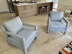 2 Newly Upholstered Milo Baughman Lounge Chairs Mid Century Modern Pair $1600.00