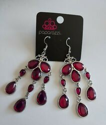 NEW Paparazzi jewelry faceted purple chandelier CLEAR THE HEIR earrings w tag $5.00