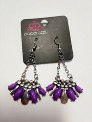 NEW Paparazzi TERRA TRIBE Purple chandelier silver tone earrings with tag $5.00