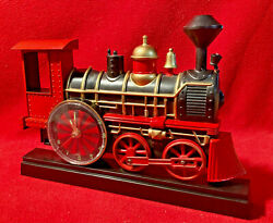 Steam Engine Train Wall Clock Whistle Light Wheels Roll on the Hour 1997 MSR $19.99
