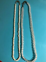 Vintage Glass Beaded Necklace w 925 Silver Clasp amp; Bonus Seed Pearl Necklace $22.95