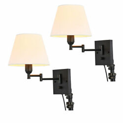 Plug in Adjustable Swing Arm Lamps Reading Bedroom Wall Light Fixture 110 120V $43.00