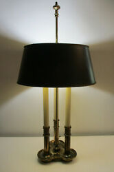 Classic Stiffel Brass French Bouillotte Candlestick 3 Way Table Lamp with Shade $149.99