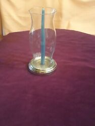 Hurricane Candle Glass Silver Antique Vintage FB Rogers $39.00