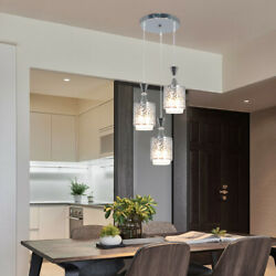 Retro LED Crystal Chandelier Ceiling Light Iron Hanging Lamp Lighing Fixture E27 $37.10