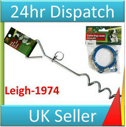 DOG LEAD amp; STAKE TIE OUT DOG POLE TIE OUT CABLE WIRE LONG DOG STAKE POLE TIE GBP 21.34