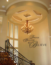 DREAM IMAGINE BELIEVE Vinyl Wall Decal Sticker Home Decor Wall Quote $12.30