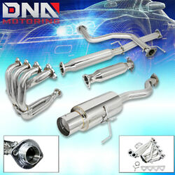 FOR 1992-2000 HONDA CIVIC 24-DOOR CAT BACK+HEADER+EXHAUST PIPE EG EK EM JDM $164.88