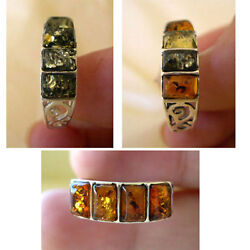 BALTIC HONEY GREEN or MULTICOLOR AMBER & STERLING SILVER HANDMADE RING BAND