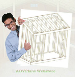 4X10 SLANT ROOF SHED 26 UTILITY SHED PLANS SHOPS 3D PDF CUSTOM VIEWS CD