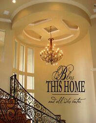 BLESS THIS HOME VINYL WALL DECAL QUOTE WORDS STICKERS LETTERING WALL DECAL $12.30