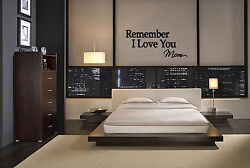 REMEMBER I LOVE YOU MOM WALL QUOTE DECAL VINYL WORDS LETTERING HOME MIRROR ART $9.45