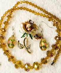 jewelry new necklace earrings pin brooch crystal set amber glass rose gold to
