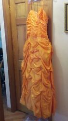 Mori Lee Mango Orange Prom Dress 2008