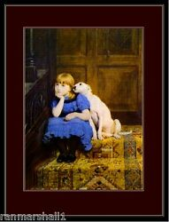 English Bull Terrier Puppy Dog Dogs Little Girl Art Print Vintage Poster Picture $7.99