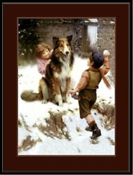 English Picture Print Collie Dog Dogs Puppy Children Snow Vintage Poster Art $7.99