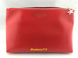 Brand New!  Givenchy Parfums Faux Leather Makeup Bag Clutch Purse -  Red