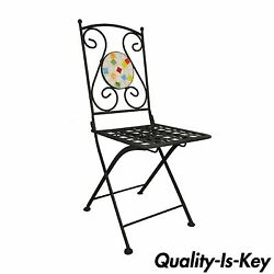 Single Wrought Iron Mosaic Tile Folding Garden Dining Outdoor Chair Whimsical