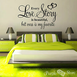 Love Story Vinyl Art Home Wall Bedroom Room Quote Decal Sticker Decoration Heart $32.99
