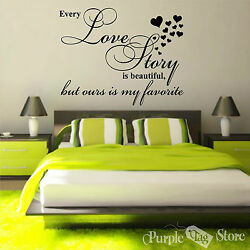 Love Story Vinyl Art Hearts Homes Wall Bedroom Room Quote Decal Sticker Decor $32.99