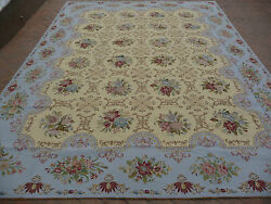 9'x12' Handmade English Garden Design Blue Wool Needlepoint Rug Made to Order