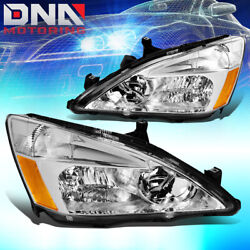 FOR HONDA ACCORD 2003-2007 2DR4DR JDM CHROME HOUSING AMBER CORNER HEADLIGHTS $65.33