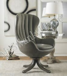 Hip Retro ART DECO Swivel Chair CHROME Leather Velvet Office Gray Vintage Look