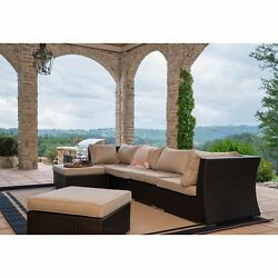 SUPERNOVA 6PC Outdoor Wicker Rattan Patio Sectional Sofa Set Furniture