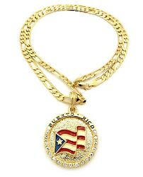 NEW PUERTO RICO FLAG PENDANT 5mm 24quot; FIGARO CHAIN NECKLACE XSP085 $14.95