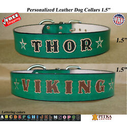 Green Custom made Dog Collar with Name Personalized Collars for Big Dogs $37.00