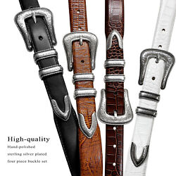 Brenton Designer Dress Belt with Western Silver Plated Buckle Set 1 1 8quot; Wide